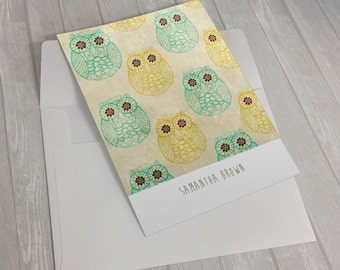 Personalized Custom Name Owls Stationary Flat Notecards -  Set of 25