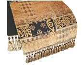 Holiday Table Runner, Patchwork Table Runner, Elegant Table Runner, Black and Gold Table Runner