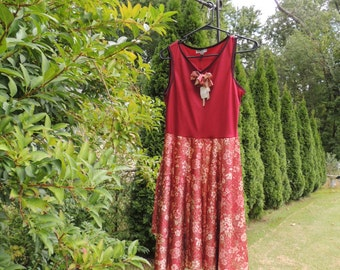 Rust Asymmetrical Dress / S/M Dress / Upcycled Clothing / Recycled Clothing / Tunic /  Handkerchief Hem Dress