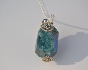 Quartz Druzy Sterling silver Necklace.