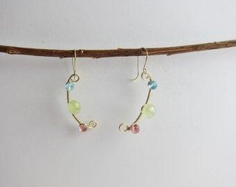 Blue Topaz, Prehinite and Pink Topaz 14K Gold Filled Handmade Earrings