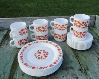 Vintage Retro Arcopal Breakfast Set Scania Pattern Orange Flowers 24 Pieces