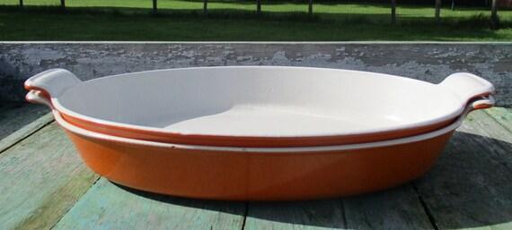 2 vintage oven dishes au gratin le creuset france orange oval. Black Bedroom Furniture Sets. Home Design Ideas
