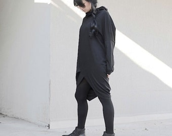 Loose top, asymmetric drop dress, black tunic with long sleeves for plus size women, cowl neck winter collection for oversized ladies