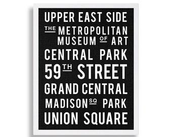 New York City Print Scroll Sign Manhattan Art Print Modern Art Bus Stop Sign Grand Central Park Art Destination Sign Black and White Art