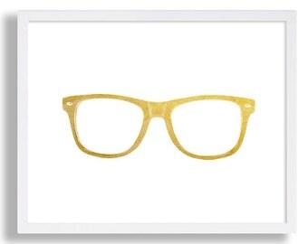 Stylish Glasses Print Faux Gold Foil Wall Art Retro Eye Glasses Vintage Art Hipster Art Prints College Dorm Room Wall Hanging Gold Art
