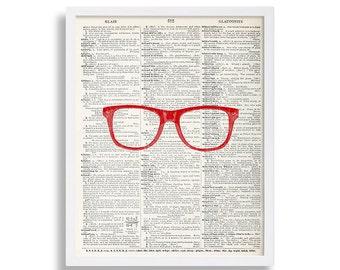 Red Glasses Print Nerdy Dictionary Page Wall Art Modern Art Print Book Page Wall Decor 8x10 Print 11x14 Art 16x20 Poster Print Hipster Art