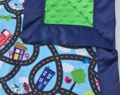 Cars and Streets Toddler Boy Minky Blanket with Silky Border