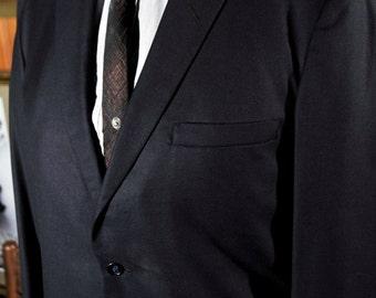 Vintage Slim Cut Crown Hand Tailored light Wool Suit Jacket -M- 40L/42L  1964 - Blue-Rat Pack - Mad Men