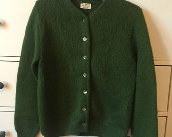 Hunter Green Mohair and Wool Cardigan
