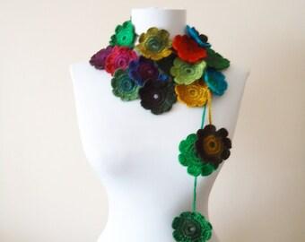 Crochet floral scarf crochet lariat necklace colorful floral scarf crochet floral lariat necklace handcrochet scarf necklace gift for mom