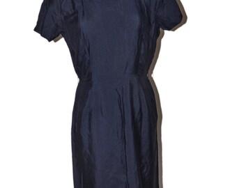 Tween Craft Vintage Estate Navy Blue Sheath Dress