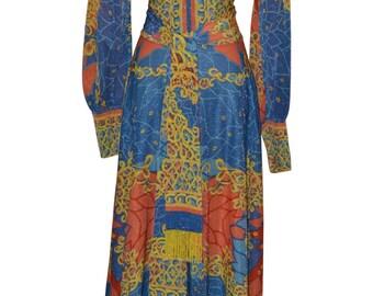 Vintage Estate Emilia Bellini Florence Italy Silk Lurex Maxi Dress