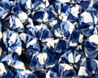 73- 1 inch Blue and White Plaid Yo-Yo Fabric Pieces