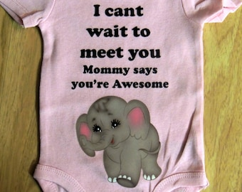 ON SALE Daddy cant wait to meet you pink onesie bodysuit 0-3 / 3-6 / 12