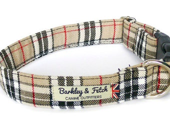 Caramel Plaid Dog Collar