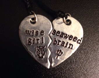 """Percy Jackson Inspired """"Wise Girl"""" and """"Seaweed Brain"""" Heart Necklace"""