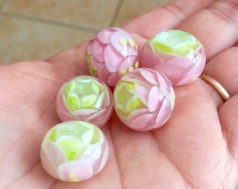 Pink green bead handwork flower Pink  glass flower bead
