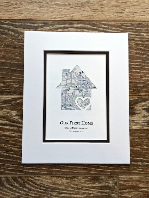 8 First Home Decorating Ideas You Ll Want To Steal: Our First Home Personalized Home Map Matted Gift By HandmadeHQ