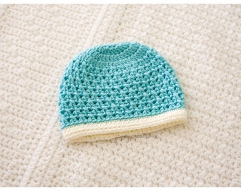 "Blue and Cream ""Xs and Os"" Baby Hat, 6-9 months, IN STOCK"