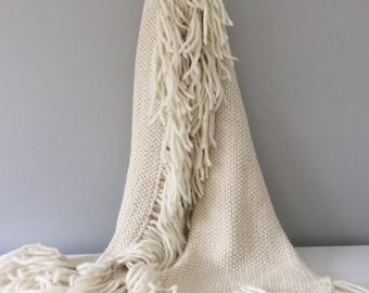 Big tassel Handknitted alpaca wrap