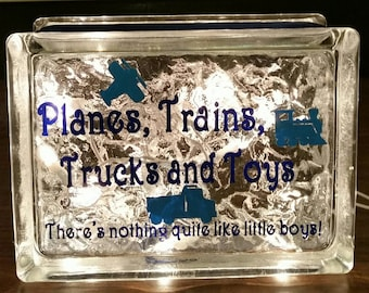 """Children's Nightlight with vinyl saying """"Planes, Trains, Trucks and Toys, There's nothing quite like little boys!"""", Boys  Nightlight"""