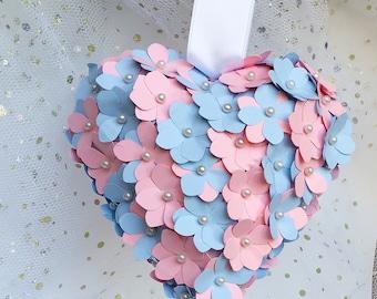 Pink and blue heart, paper hydrangea flowers, church pew decor, aisle decor, wedding decor, blush rose alternative bouquet, best friend gift