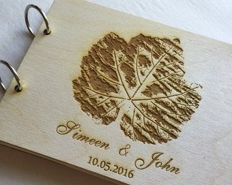 Fall Leaf Wedding Guest Book Engraved Leaf Wooden Guest Book