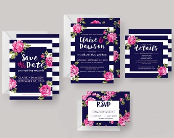 "PRINTED or DIGITAL Wedding Invitation Suite (Including Save the Date)—""Claire""—Modern Floral Invitation, Wedding, Save the Date, Wedding"