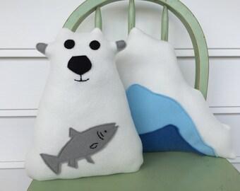 Handmade Arctic Polar Bear  and Plush Iceberg Toy, Pillow, Set of Two