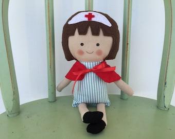 Handmade nurse, RN, LPN, Red Cross, rag doll, perfect for imaginative play!