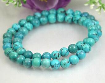 """33g 16"""" Round Turquoise Bracelet,8mm Natural Turquoise Bangle,Necklace Stretchy Bracelet,Tribal Gemstone Bead Bracelet, Wedding gift Jewelry"""