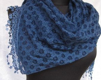 Darkblue Lace scarf