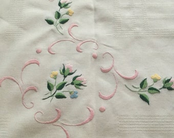 Beautiful French hand embroidered table cloth 79x 87 cm approx