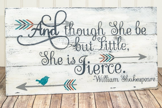 She is fierce pallet sign baby girl nursery sign by for Signs for little girl rooms