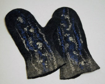 "Handmade  mittens for women ""Snow"". Warm felted gloves of merino wool. Felted warm accessories."