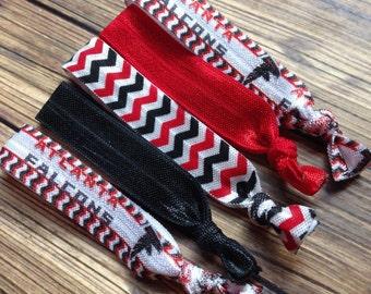 BOGO 50% OFF, Atlanta Falcons Women's Elastic Hair Ties, Set of Five, Football Hair Ties