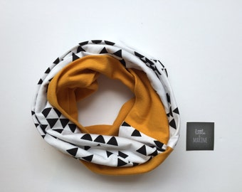 Baby Infinity scarf - Toddler scarf bib - black triangle & solid yellow mustard