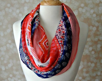 Red, White & Blue Scarf, Fashion Scarf, Floral Scarf, Infinity Loop, Accessory, Spring Scarf, Aztec Scarf, BOHO