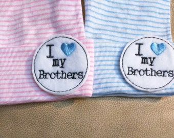 Newborn Beanie Hat. I Love my BROTHERS! Choice of Hat Colors. Super Cute. Newborn Hospital Hat. Baby's 1s