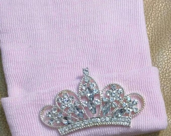 FLaSH SaLE Newborn Hospital Hat EXCLUSIVE. Solid Pink Hat with Clear Rhinestone Tiara. Her Very 1st Tiara Keepsake!