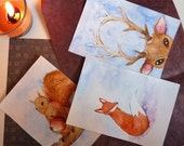 Original Christmas cards watercolours forest animals // set of three