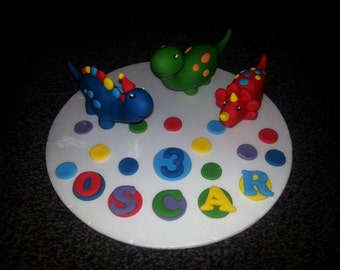 Edible handmade dinosaur birthday cake topper