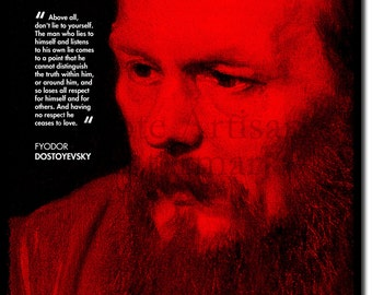 Fyodor Dostoyevsky Original Art Print With Quote - Photo Poster Gift