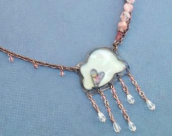 Pink Crystal Rain Cloud Necklace with Pendant by Jade Scott