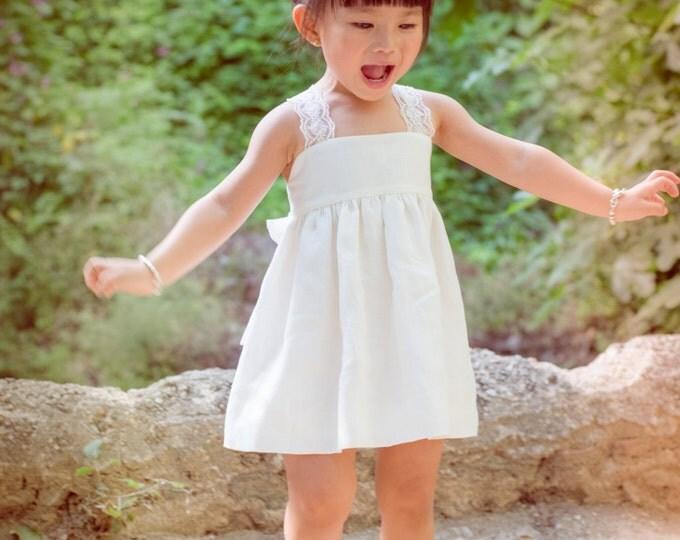 Toddler linen dress, Girls Beige dress, Toddler dress, Romantic Girls dress, Linen dress of 100% linen, Linen Natural Girl Dress, Chic dress