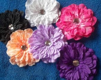 6 flower hair clips