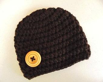 Baby boy hat, dark brown baby hat, newborn boy hat, baby boy beanie, button boy hat, take home outfit, crochet baby hat, newborn crochet hat