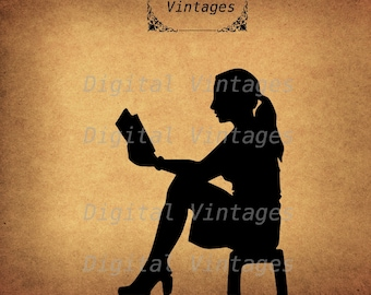 Girl Reading Book School SIlhouette  illustration Vintage Digital Image Graphic Download Printable Clip Art Prints HQ 300dpi svg jpg png