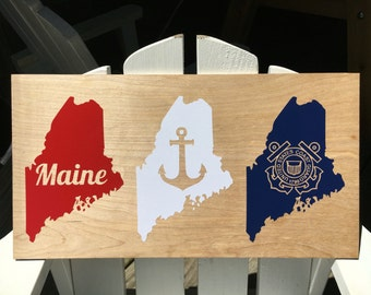 Maine Vinyl Decal Red White Blue US Coast Guard Anchor